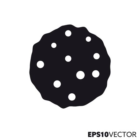 Choclate chip cookie solid black icon. Glyph symbol of pastry and sweet food. Unhealthy eating flat vector illustration.