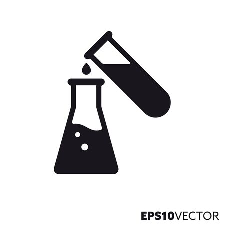 Scientific experiment solid black icon. Glyph symbol of laboratory equipment and science. Chemistry flat vector illustration.