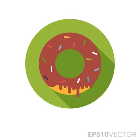 Chocolate covered donut with sprinkles flat design round icon. Color symbol of pastry and junk food. Long shadow sweet food vector illustration in a circle isolated on white background.