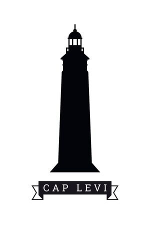 Silhouette of lighthouse at Cap Levi,  France, vector illustration