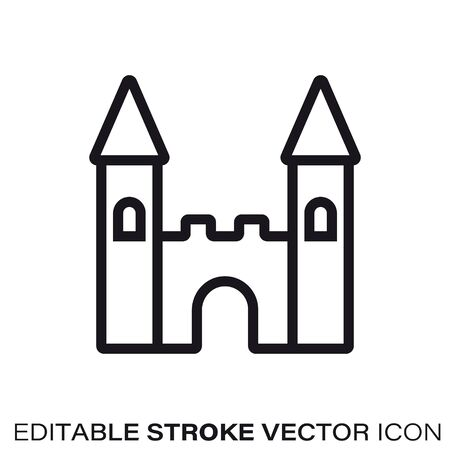 Toy castle line icon. Outline symbol of toys and childhood. Editable stroke flat vector illustration.