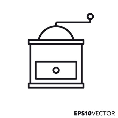 Coffee grinder line icon. Outline symbol of kitchenware and household euipment. Coffee mill flat vector illustration.