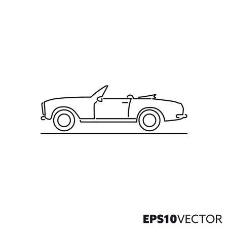 Icône de ligne de voiture de sport décapotable vintage. Symbole de contour de la voiture de collection et de la conception automobile. Illustration vectorielle plane de véhicule à moteur classique.