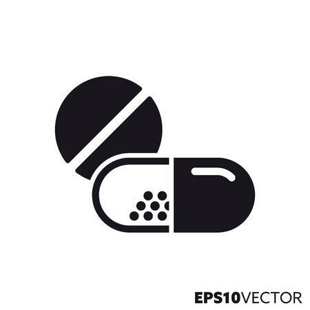 Pill and capsule solid black icon. Glyph symbol of medicine and pharmaceuticals. Health care flat vector illustration. Illustration