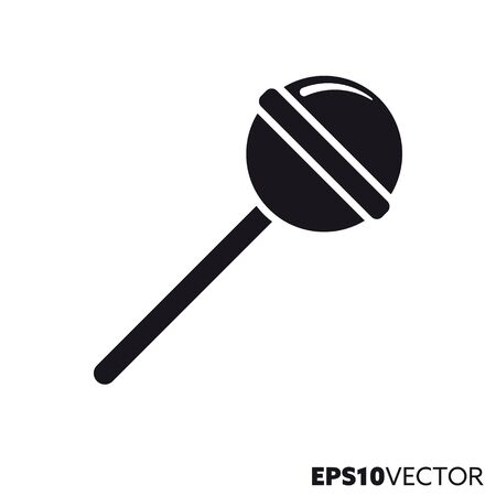 Lollipop solid black icon. Glyph symbol of sweet food and hard candy. Unhealthy eating flat vector illustration. Ilustrace