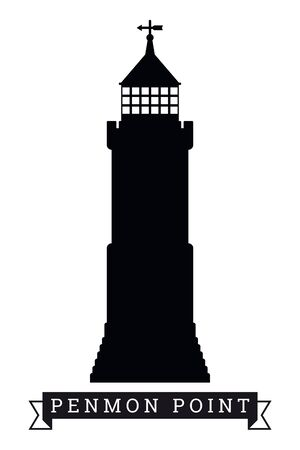 Silhouette of lighthouse at Penmon Point, North Wales, UK, vector illustration