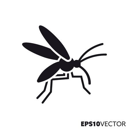 Mosquito solid black icon. Glyph symbol of insects and pests. Nature flat vector illustration.