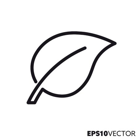 Leaf line icon. Outline symbol of environment and ecology. Plant part flat vector illustration.