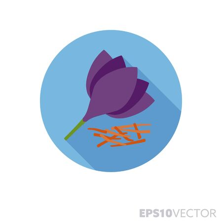 Saffron stigmata and crocus flower flat design round icon. Color symbol of spices and seasoning. Long shadow vector illustration in a circle isolated on white background.