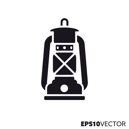 Hurricane lantern solid black icon. Glyph symbol of camping and oil lamp. Outdoor equipment flat vector illustration.