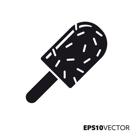Sprinkled ice cream solid black icon. Glyph symbol of ice cream and sweet food. Unhealthy eating flat vector illustration.