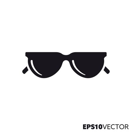 Sunglasses solid black icon. Glyph symbol of summer holidays and sun protection. Travel flat vector illustration. Ilustração