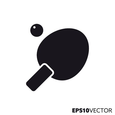 Table tennis paddle and ball solid black icon. Stock Illustratie