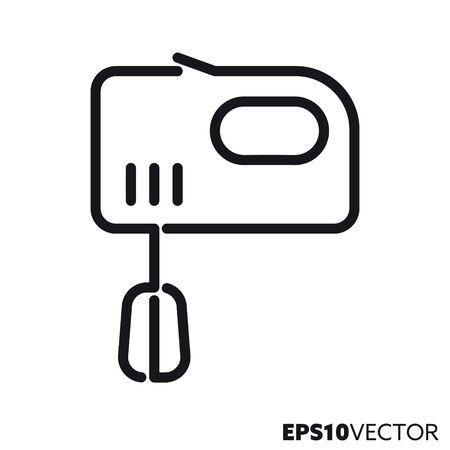 Electric mixer line icon. Outline symbol of cooking utensils and kitchen appliances. Fod processor flat vector illustration. 向量圖像
