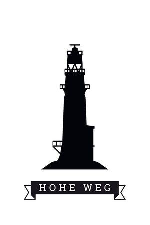 Silhouette of lighthouse at Hohe Weg, Weser River, Germany, vector illustration Standard-Bild - 125912915