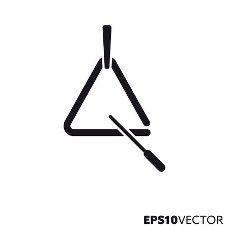 Triangle line icon. Glyph symbol of perccussion instrument and music. Musical instrument flat vector illustration.