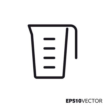 Measuring cup line icon. Outline symbol of  cooking utensils and kitchen equipment. Beaker flat vector illustration. Stock Illustratie