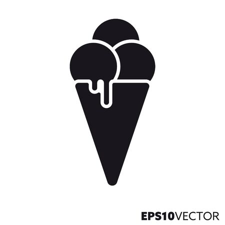 Ice cream cone solid black icon. Glyph symbol of refreshment and sweet food. Flat vector illustration. Vetores