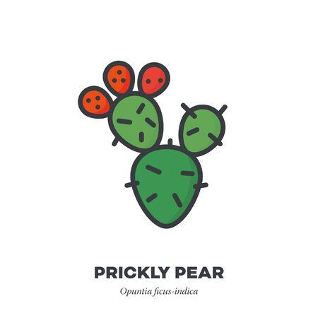 Kaktusfeigenfruchtsymbol, Umriss mit Farbfüllstil-Vektorillustration, Kaktus mit drei Früchten