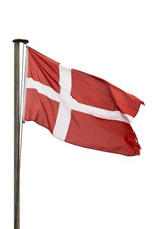 Flag of Denmark on flagpole isolated on white background Archivio Fotografico