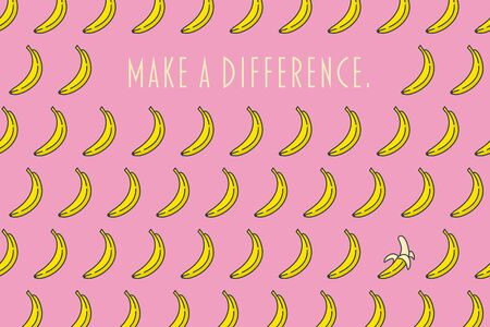 Make a difference motivational poster with bananas pattern on pink background vector illustration Ilustrace