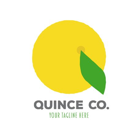Company logo template with quince fruit and leaf illustration. Vector business design element. Foto de archivo - 130503135