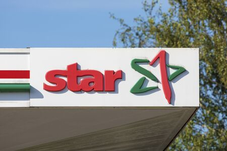 Stade, Germany - August 22, 2019: Star brand logo at gas station. Star is a brand of PKN Orlen, a mineral oil company seated in Poland.