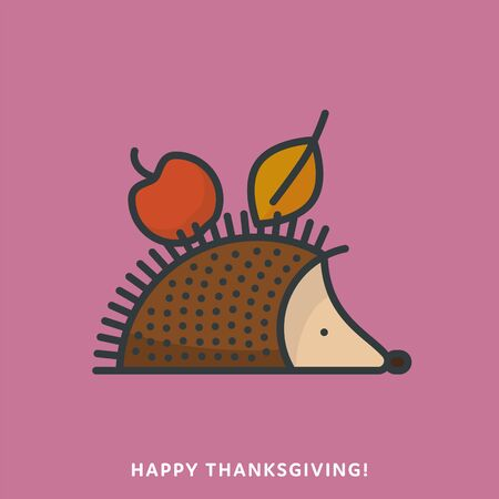 Hedgehog with apple and leaf in spikes icon, filled outline style. Thanksgiving and autumn symbol vector illustration