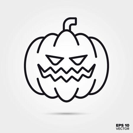 Carved pumpkin outline style icon. Fall season and halloween celebration symbol. Spooky cartoon vector illustration. Foto de archivo - 130503144