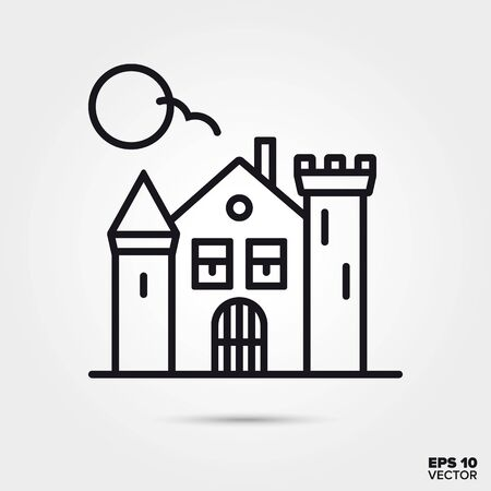 Haunted house outline style icon. Fall season and halloween celebration symbol. Spooky cartoon vector illustration. Stock Illustratie