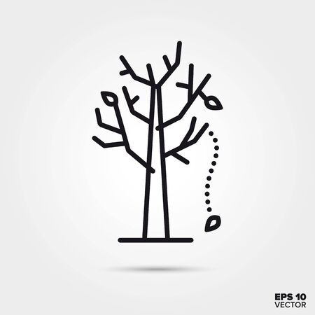Last leaves falling from almost bare tree outline style vector. Fall season and nature symbol. Deciduous tree illustration.