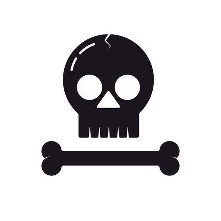 Skull and bone vector icon. Solid black Halloween symbol. Foto de archivo - 130430856