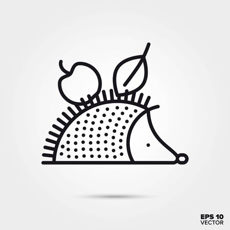 Hedgehog carrying apple and leaf in its spikes outline style vector. Fall season and nature symbol. Cute animal illustration.