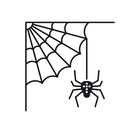 Cobweb and spider vector icon. Solid black Halloween symbol.