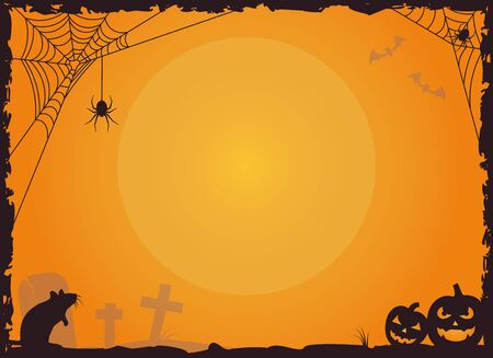 Halloween border with copy space. Vector illustration with spiders in their nets, rat, graveyard and Jack O'Lantern pumpkins.