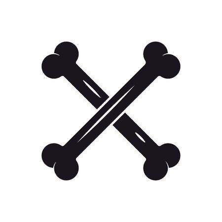 Crossed bones vector icon. Solid black Halloween symbol. Foto de archivo - 130430887