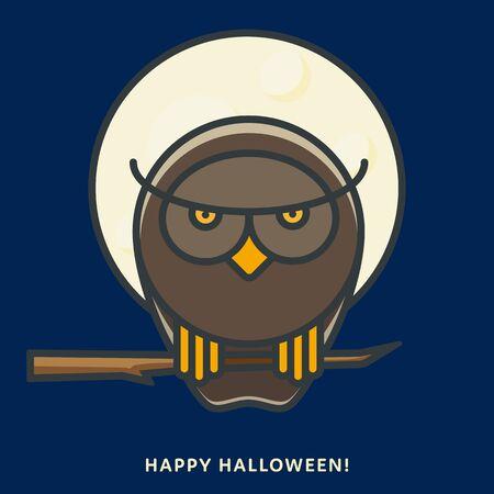 Halloween owl sitting on branch in moonlight. Vector illustration, filled outline style. Illustration