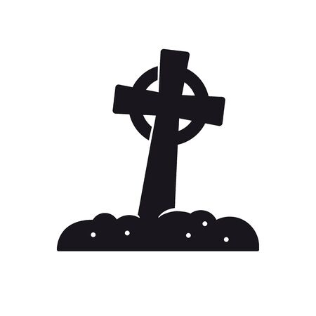 Celtic cross tombstone vector icon. Solid black Halloween symbol.