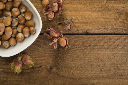 Freshly harvested hazelnuts in white bowl on rustic wooden background with copy space, high angle view Foto de archivo - 130503974