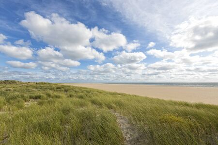 Dunes and beach landscape at the North Sea island of R�m�, Denmark Stock Photo - 130347850