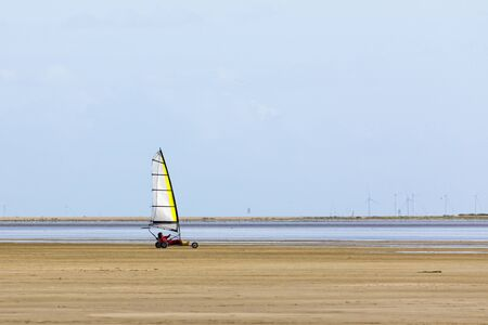 Land sailing with a blokart at the beach of Danish North Sea island of R?m?