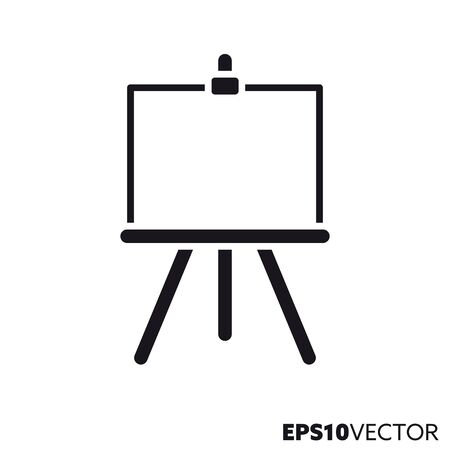 Easel with blank canvas glyph icon. Symbol of painting and creativity. Art equipment flat vector illustration. Foto de archivo - 130431136