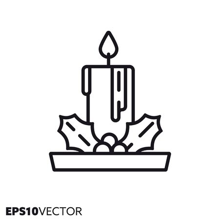 Christmas candle with holly leaves line icon. Outline symbol of holidays and festive decoration. Seasonal ornament flat vector illustration. Foto de archivo - 130431144