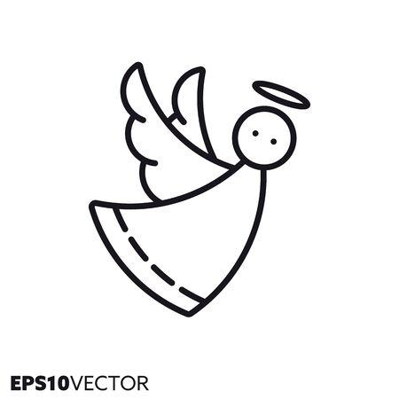Christmas angel line icon. Outline symbol of holidays and festive decoration. Seasonal ornament flat vector illustration.