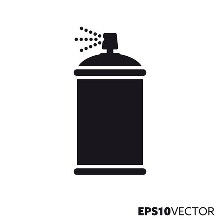 Spray paint can glyph icon. Symbol of graffiti painting and varnishing. Home improvement equipment flat vector illustration.