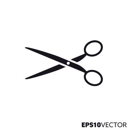 Schere-Glyphe-Symbol. Symbol für Friseur und Schneiderei. Flache Vektorillustration des Bürowerkzeugs.