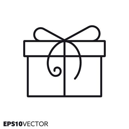 Christmas gift box with bow line icon. Outline symbol of holidays and festive decoration. Seasonal ornament flat vector illustration. Foto de archivo - 130504280