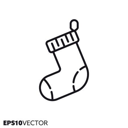 Christmas stocking line icon. Outline symbol of holidays and festive decoration. Seasonal ornament flat vector illustration.