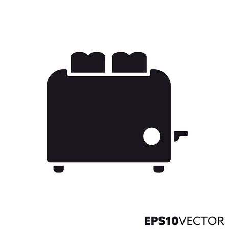 Toaster glyph icon. Symbol of kitchen appliance. Food related flat vector illustration. Çizim
