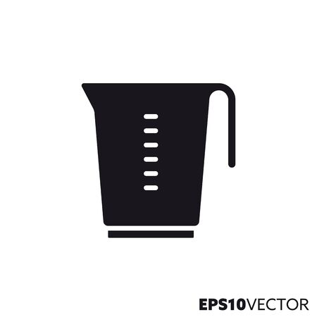Measuring cup glyph icon. Symbol of kitchen utensils. Food and cooking related flat vector illustration. Stock Illustratie
